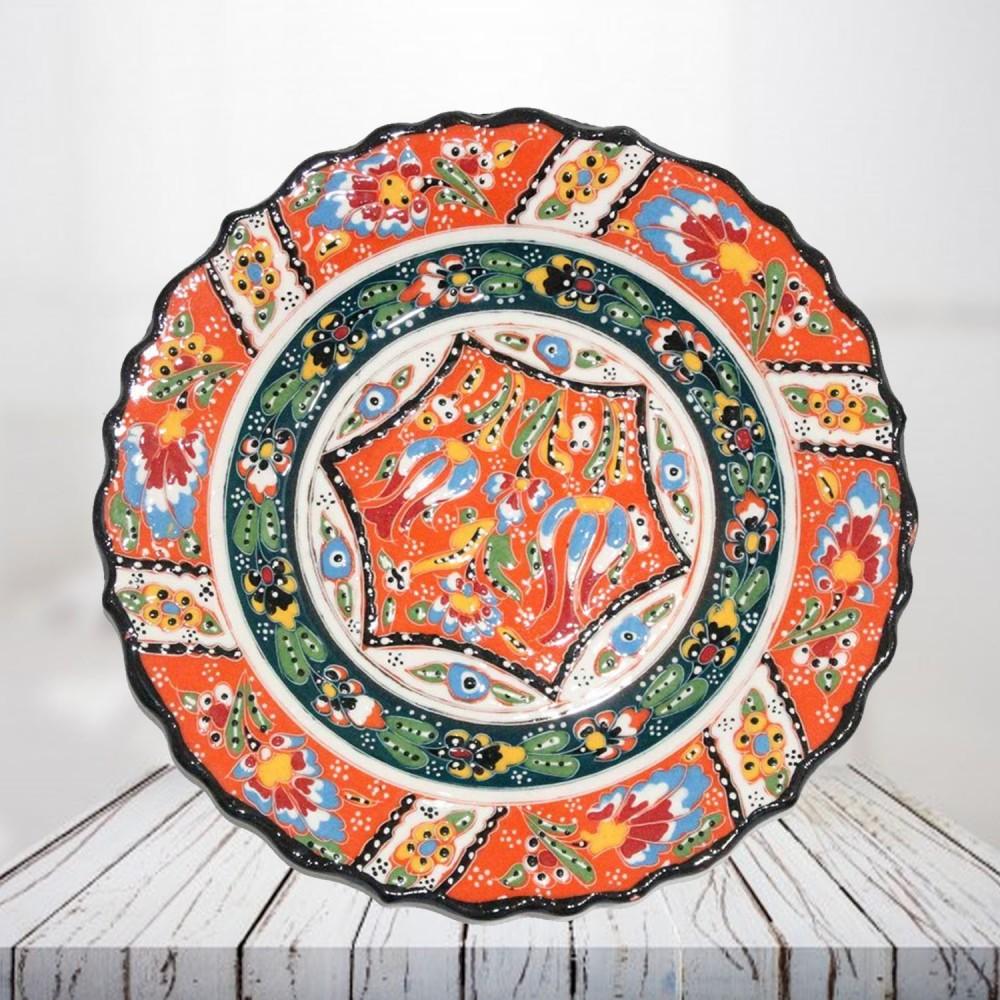 Handpainted 25 cm orange ceramic plate - SHI_CP2506