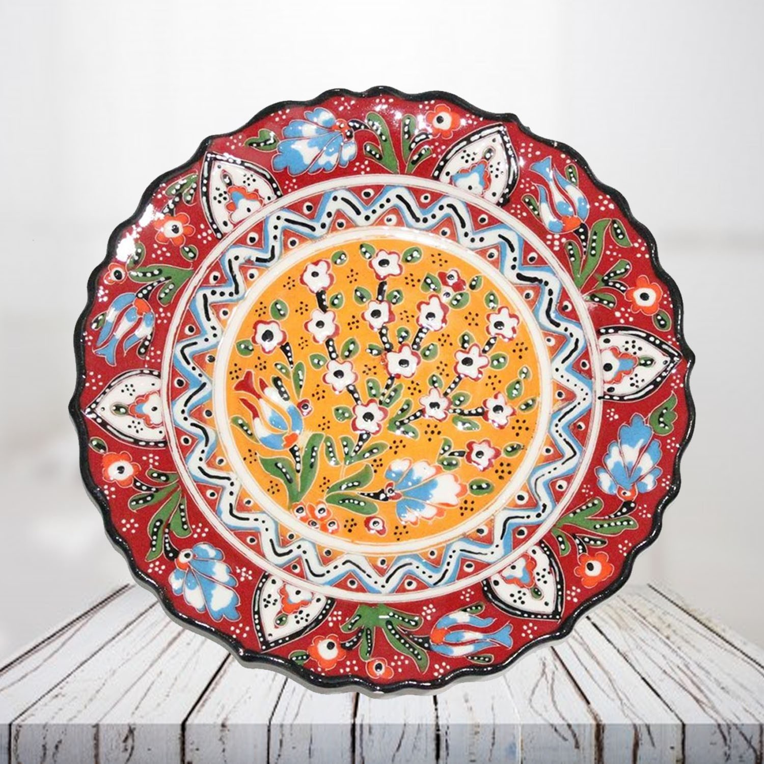 Handpainted 25 cm red ceramic plate - SHI_CP2507