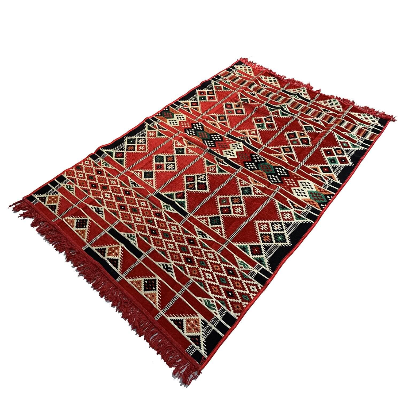 180 x 120 cm Machine woven oriental red Turkish kilim rug