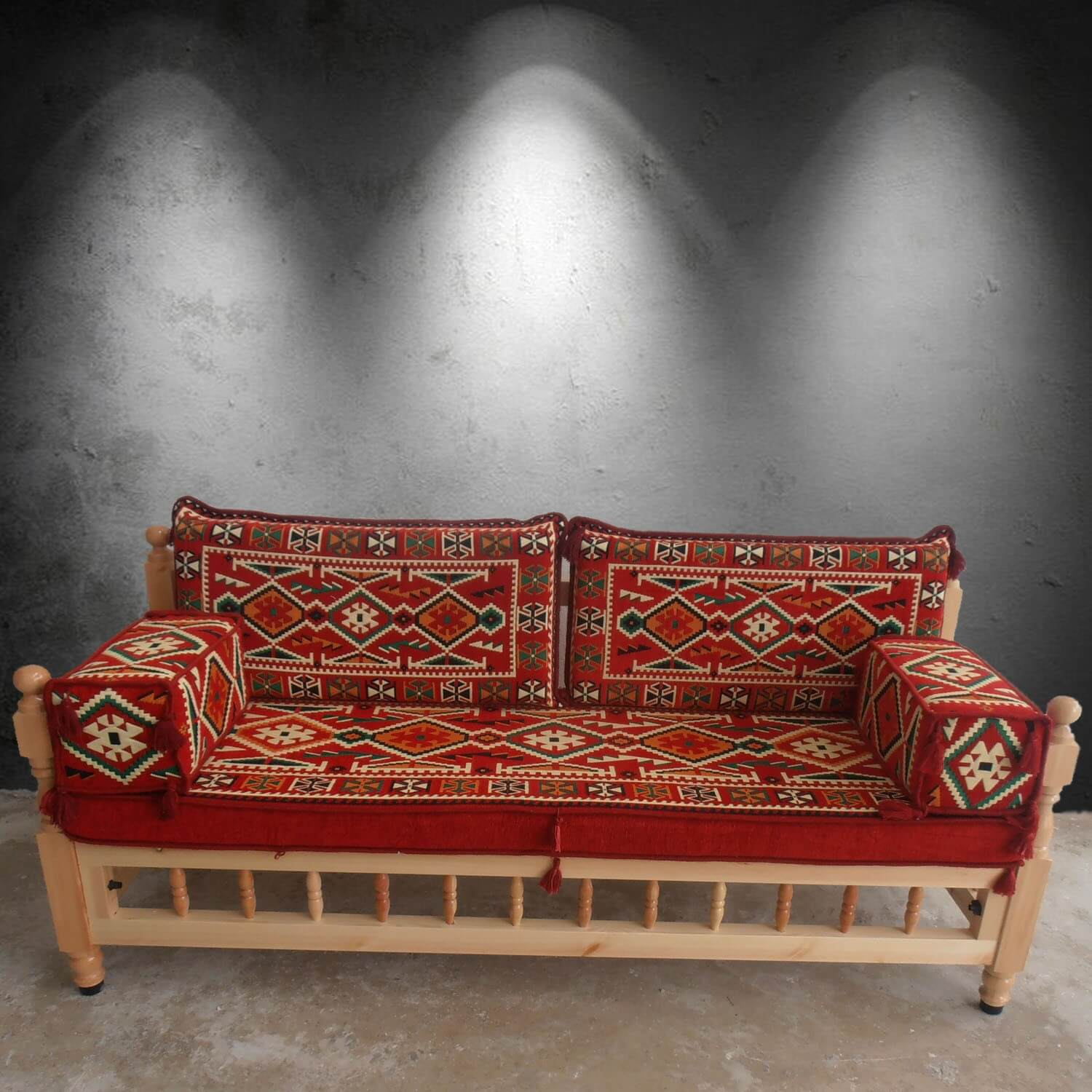 Three seater wooden sofa with cushions - SHI_WB3S