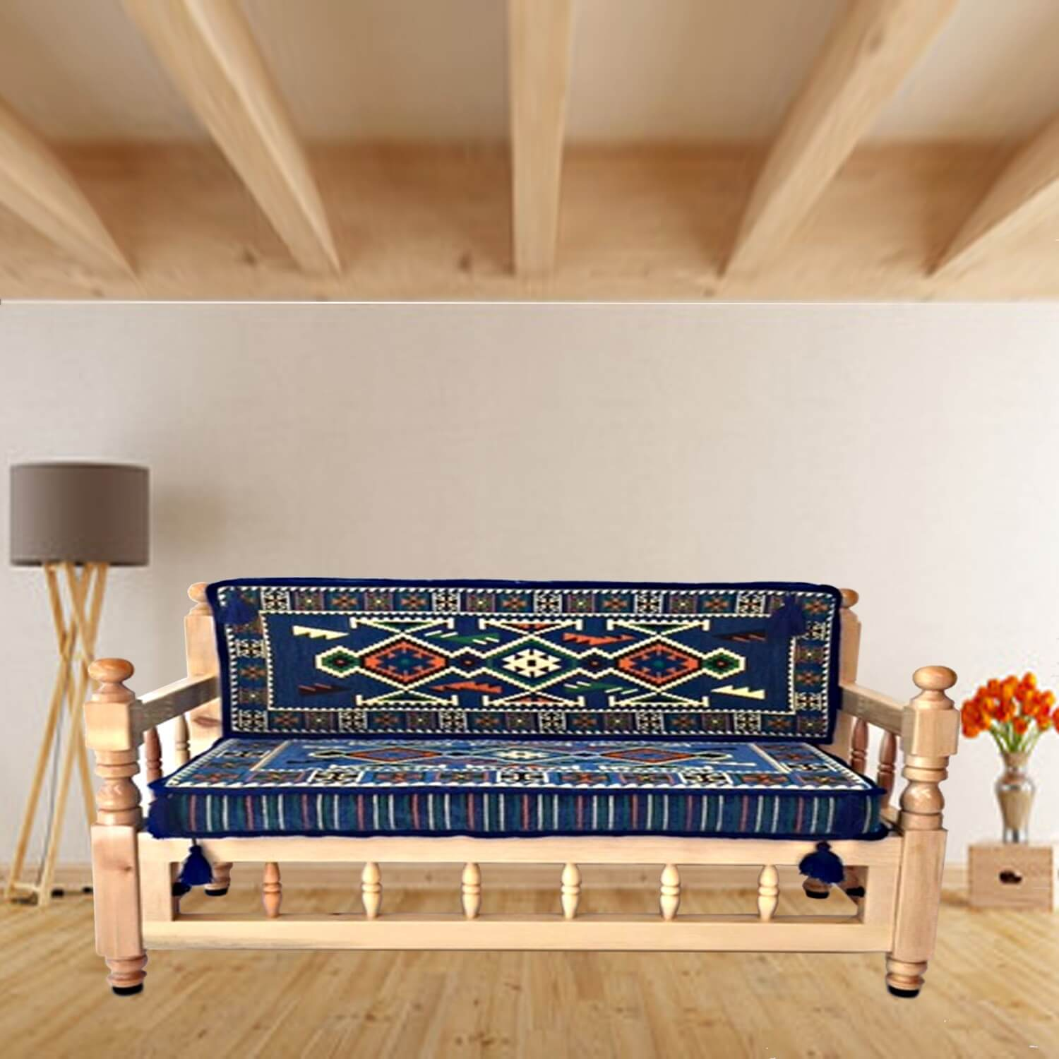 Two seater wooden sofa with cushions - SHI_WB2S