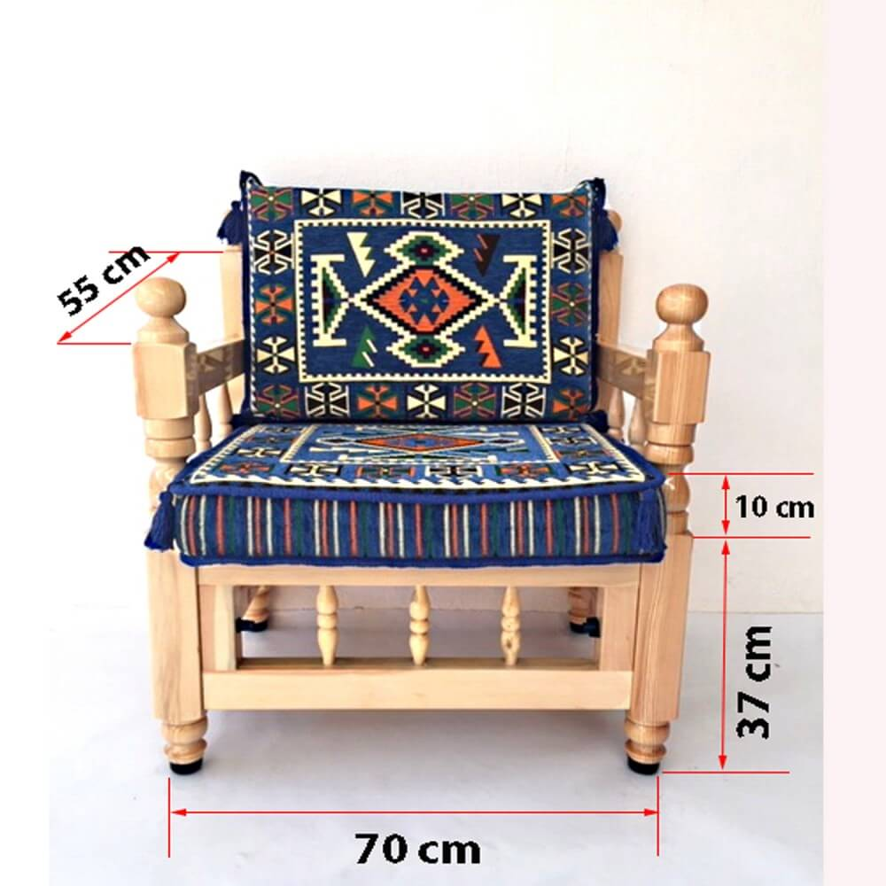 Single seater wooden sofa with cushions - SHI_WB1S