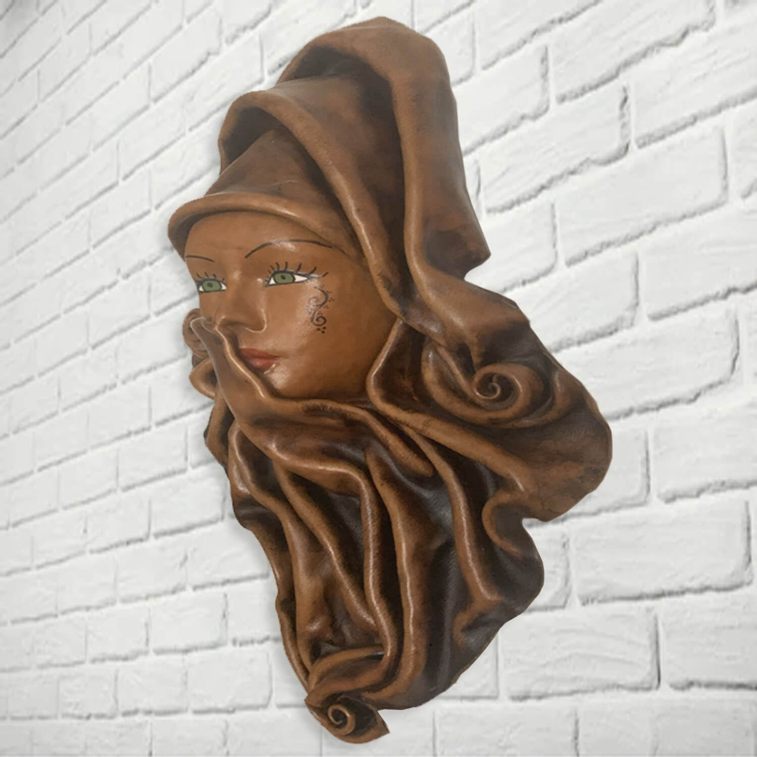 Middle Eastern woman moulded leather wall mask - SHI_LM1