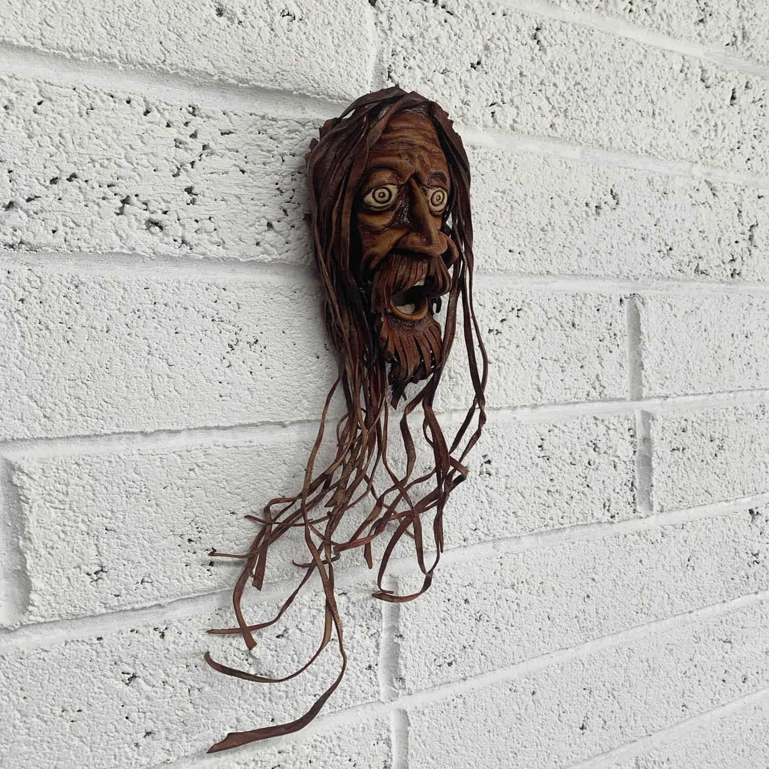 Rasta man moulded leather wall mask