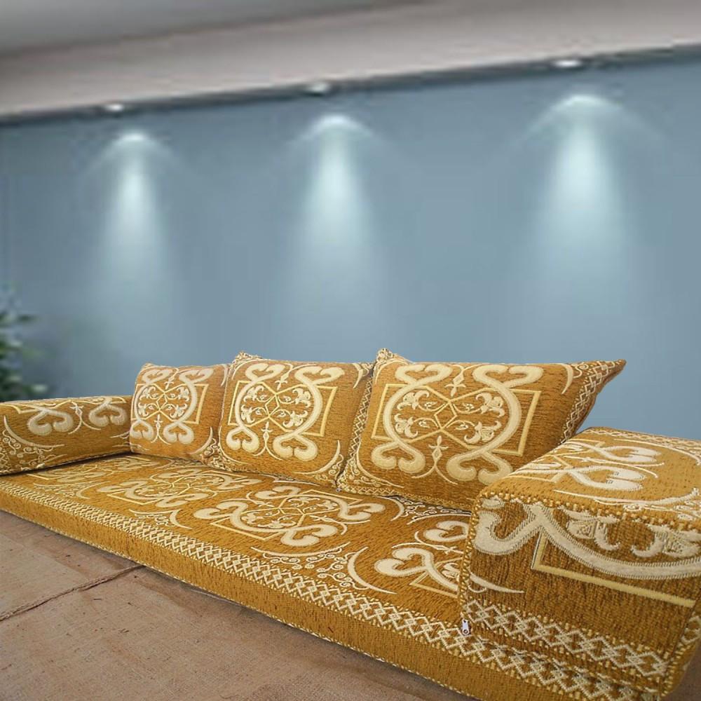 Three Seater Majlis Floor Sofa Couch Floor Cushions Yellow