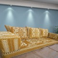 Three Seater Majlis Floor Sofa Couch Floor Cushions Yellow