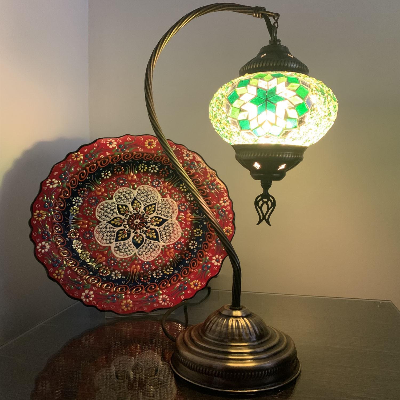 Swan Neck green Turkish Mosaic Glass Table Lamp