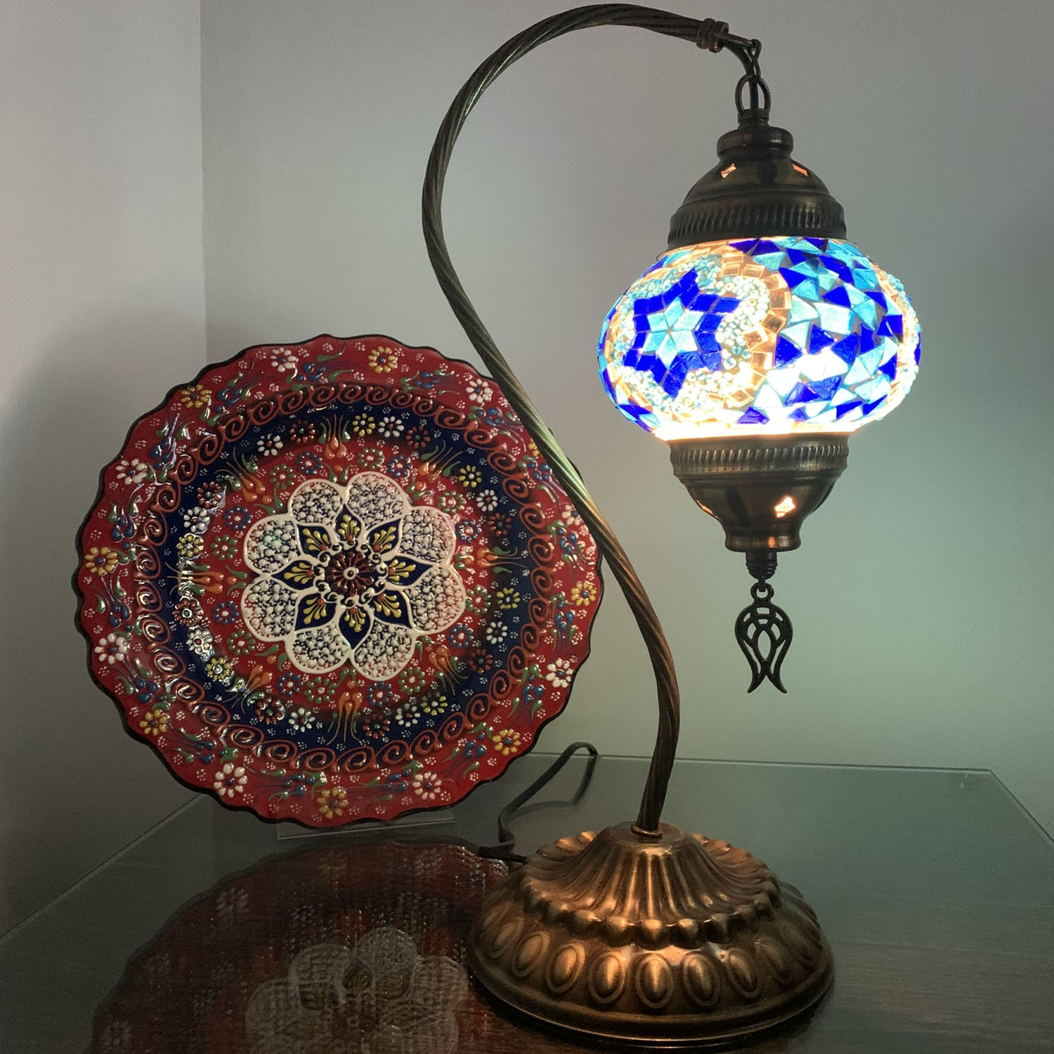 Swan Neck blue Turkish Mosaic Glass Table Lamp