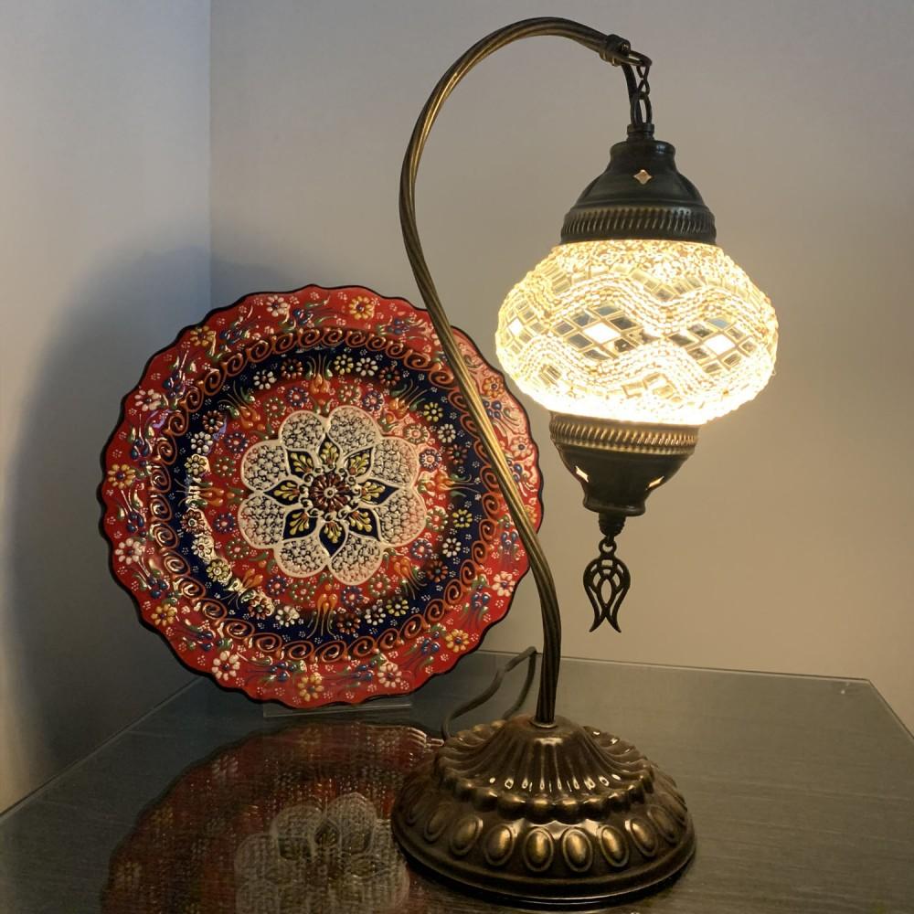 Swan Neck white Turkish Mosaic Glass Table Lamp