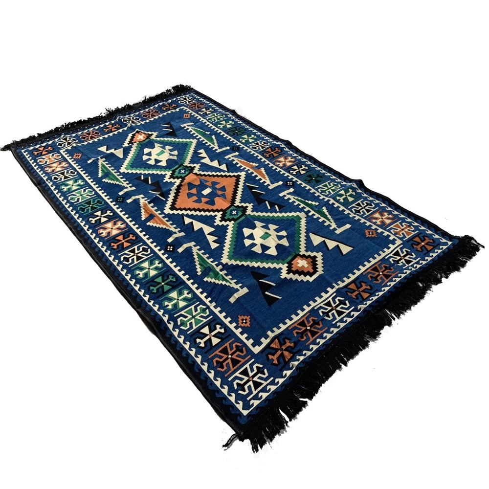 180 x 120 cm Machine woven oriental blue Turkish kilim rug