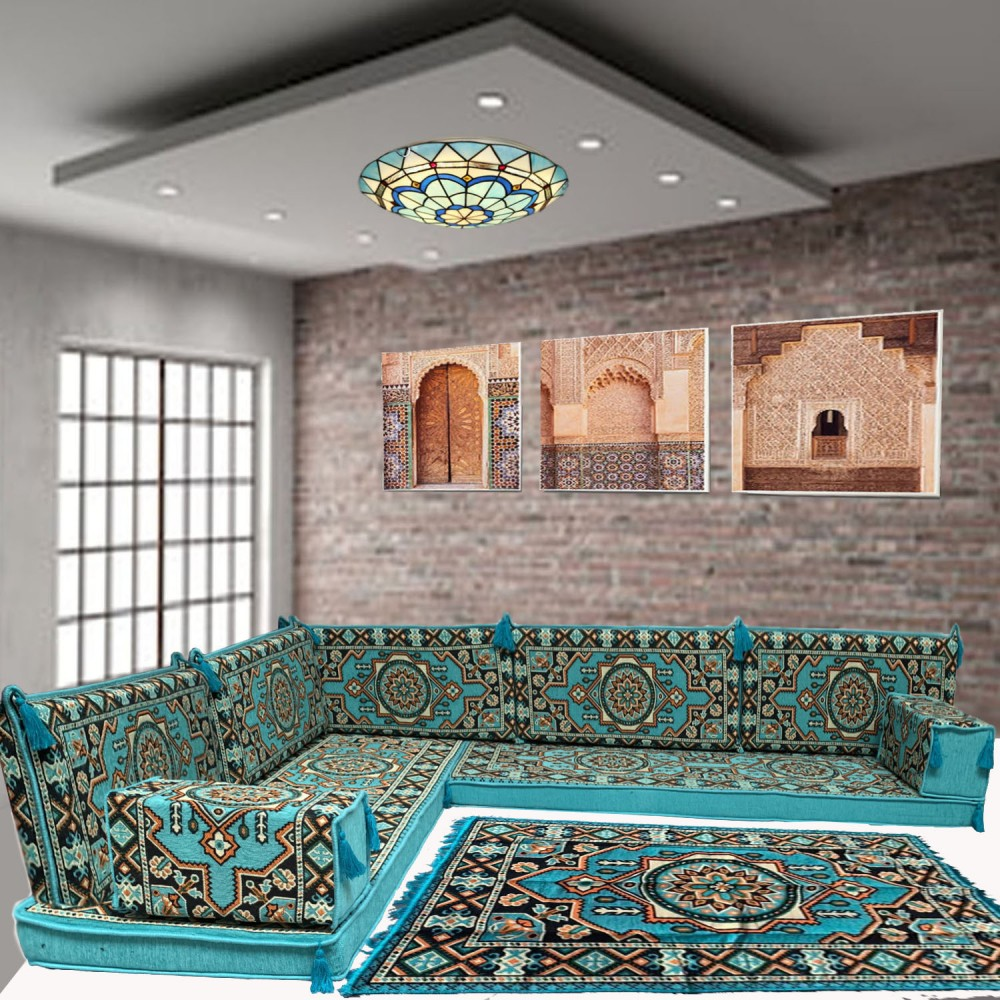 Six seater blue oriental majlis corner floor sofa set