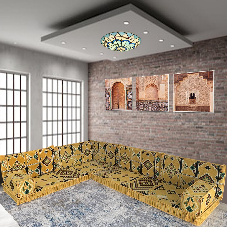 Six seater yellow oriental majlis corner floor sofa set