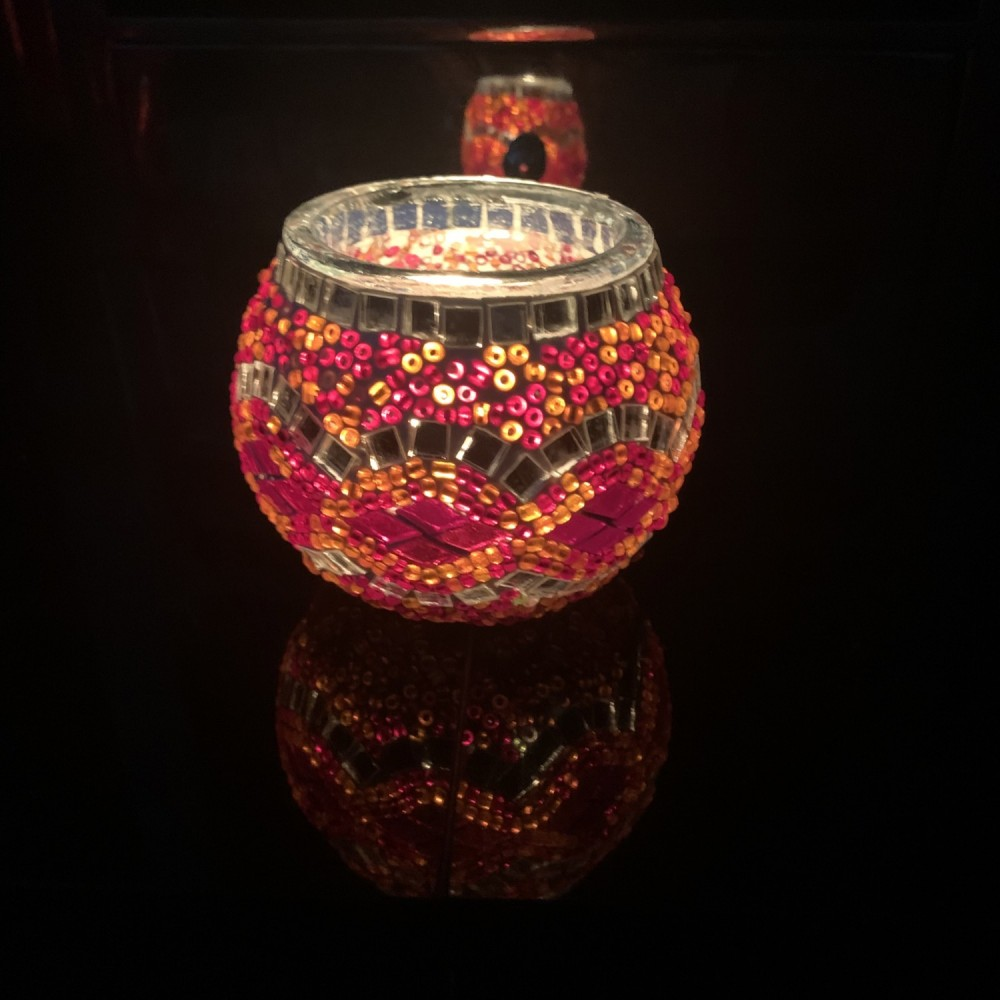 Handmade Mosaic Glass Candle Holder - Red/Multi