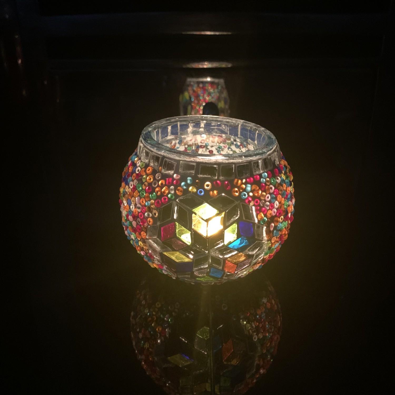Handmade Mosaic Glass Candle Holder - Multi