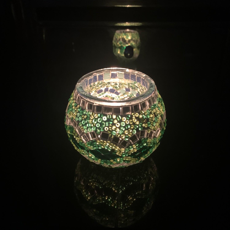 Handmade Mosaic Glass Candle Holder - Green/Multi