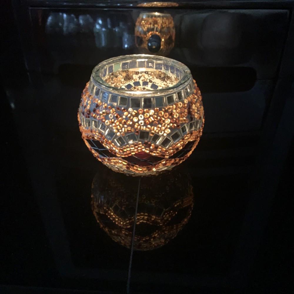 Handmade Mosaic Glass Candle Holder - Brown/Multi