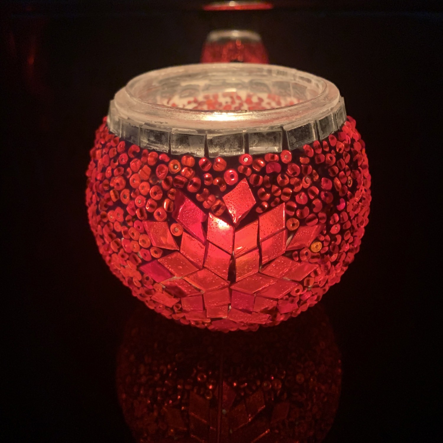 Handmade Mosaic Glass Candle Holder - Red