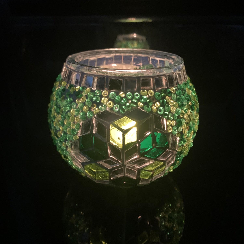 Handmade Mosaic Glass Candle Holder - Green/Silver