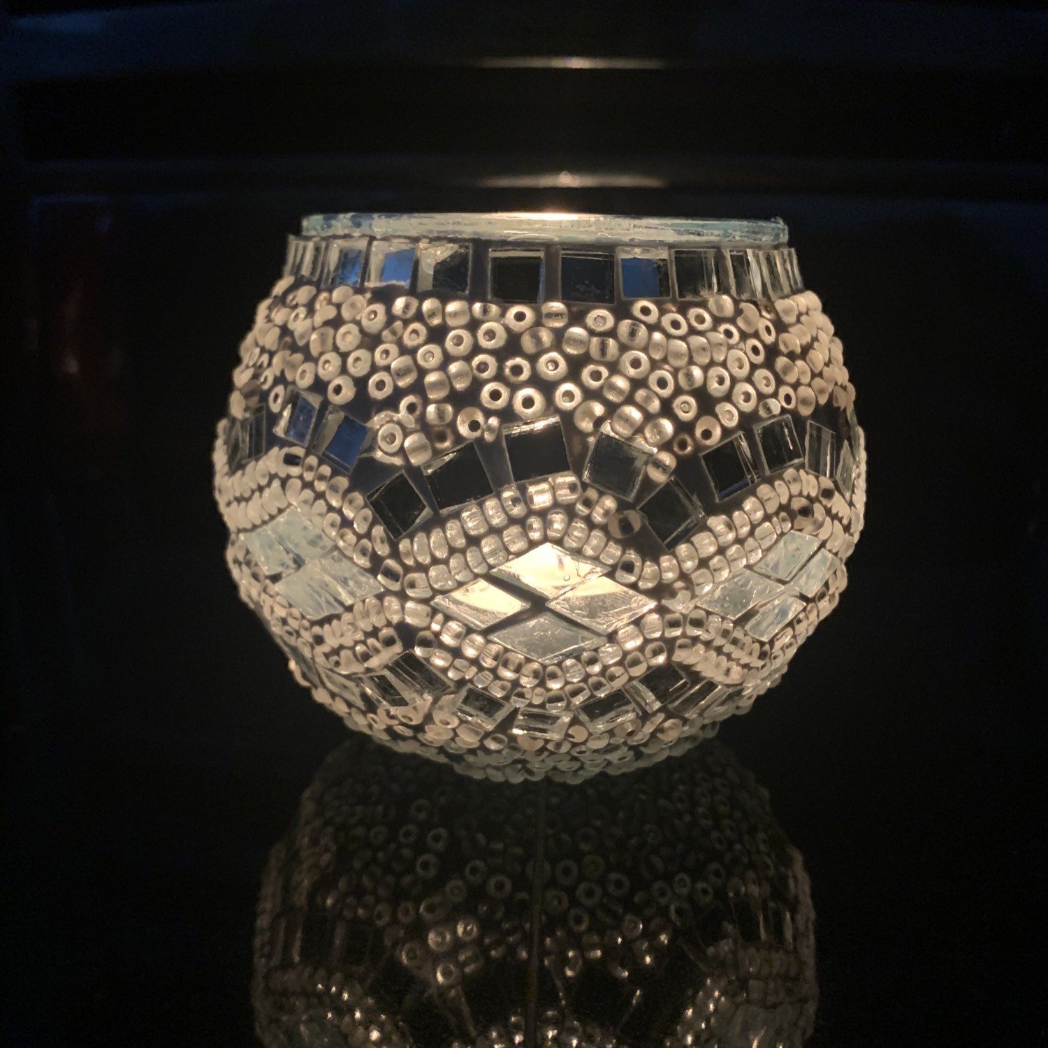 Handmade Mosaic Glass Candle Holder - Silver/White