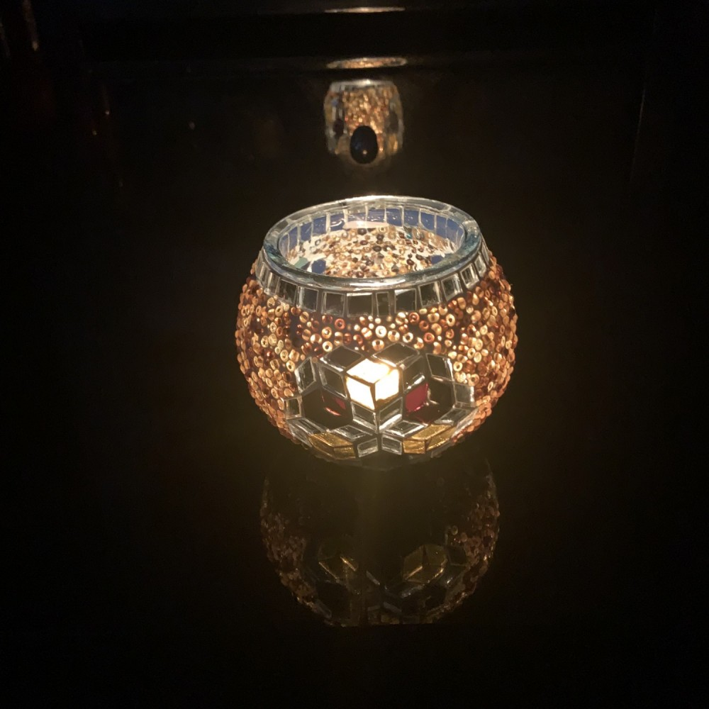Handmade Mosaic Glass Candle Holder - Brown/Silver