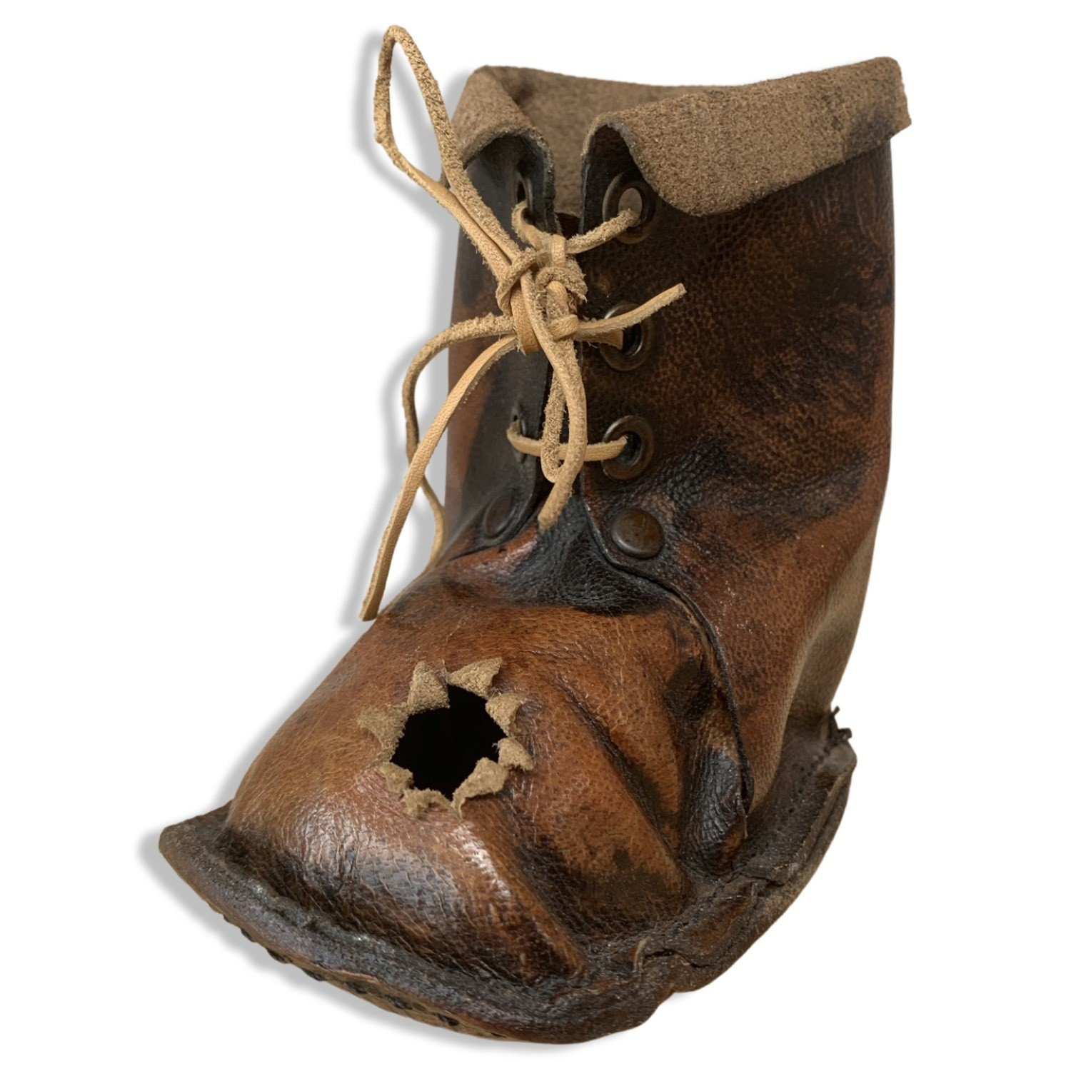 Leather Pen Holder - Soldier Boot With Bullet Hole