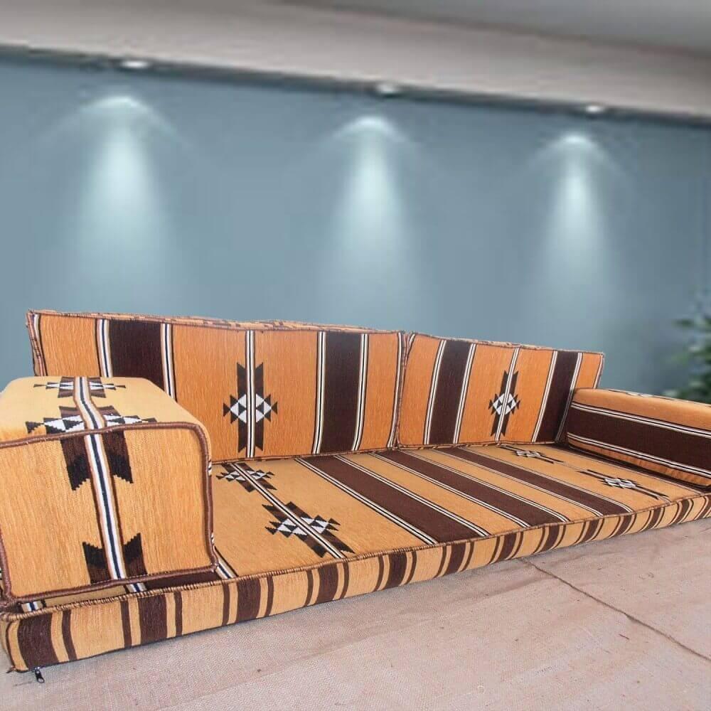 Three seater oriental majlis floor sofa facing arrows