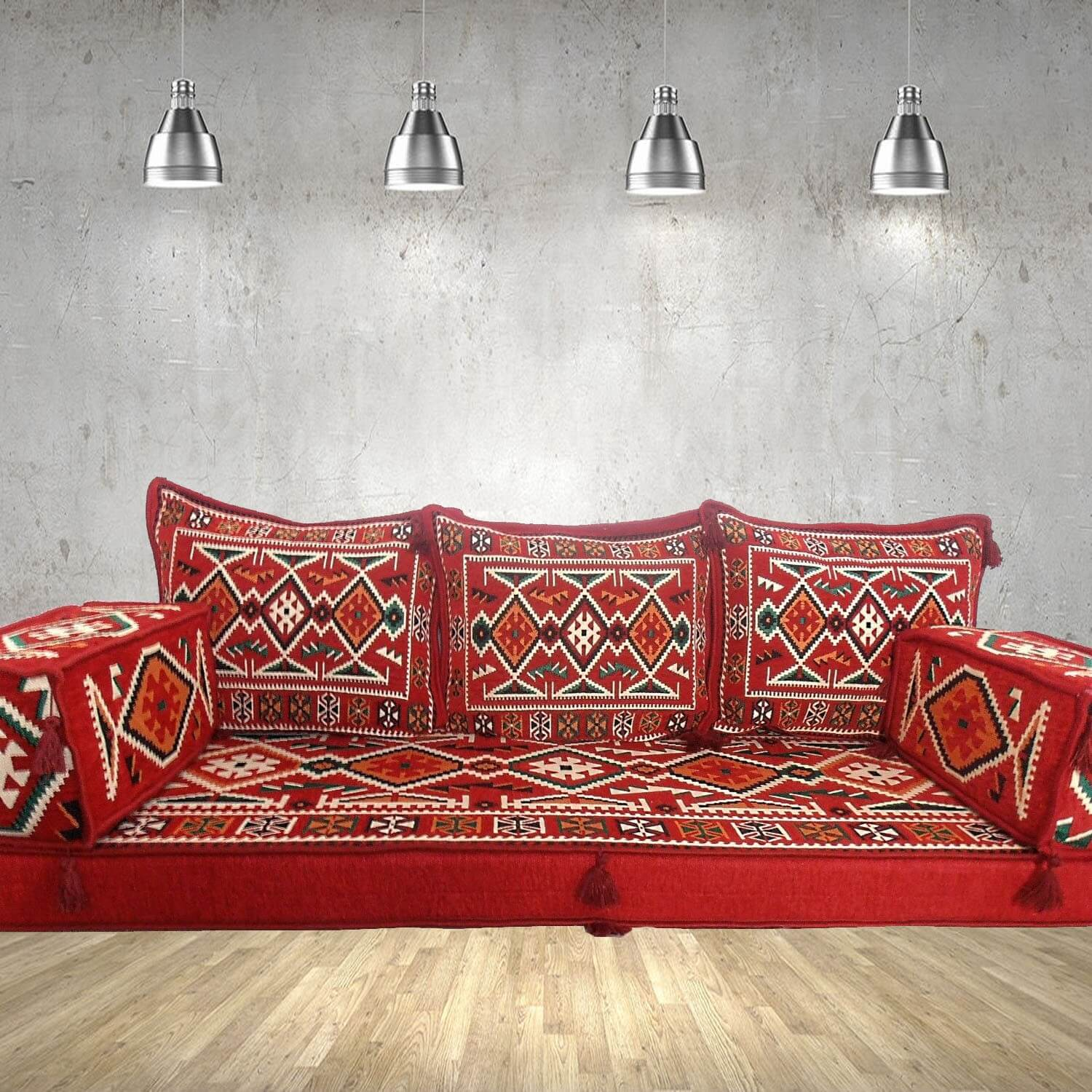 Floor sofa with triple back pillows - SHI_FS336