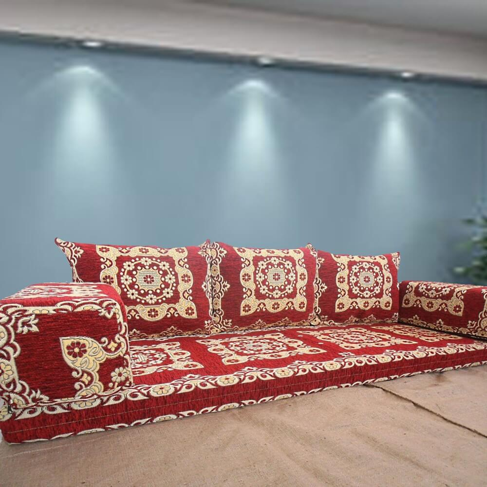 Papillon-1 Red Three Seater Majlis Floor Sofa Couch
